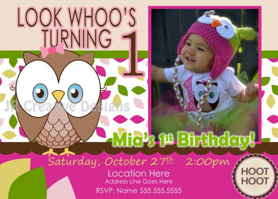 Birthday Party Decorations Look Whoos Turning One Invitation Owl Theme Invite 1st