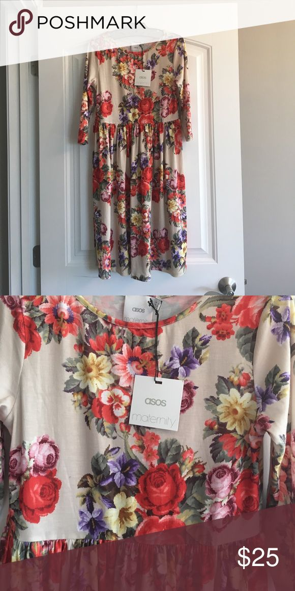 Asos floral maternity dress. UK 8 US 4 Elbow sleeve beige and floral print. ASOS Maternity Dresses Midi