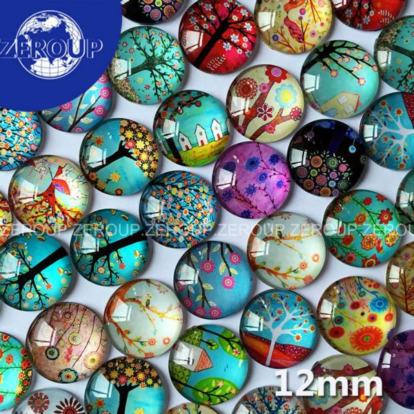 50pcs/lot 12mm HOT DIY Glass Cabochons Tree Branch Pattern Flat Back Round Mixed Color Cabochon Fashion Jewelry Component