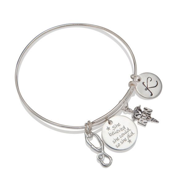 Personalized RN Nurse Graduation Gift Bangle Bracelet Stethoscope Charm Pinning Ceremony Gift Idea All 925 Sterling Silver by Shiny Little Blessings.