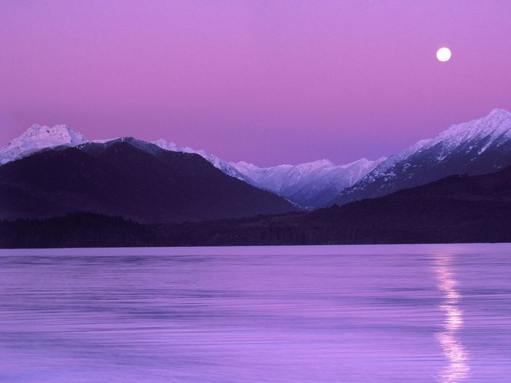 Moonset over Hood Canal & Olympic Mountains.