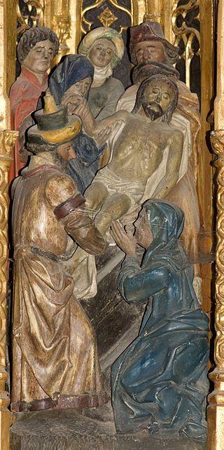 J-Retable de la Passion-Mise au tombeau - Category:Retable de la Passion (Ambierle) — Wikimedia Commons