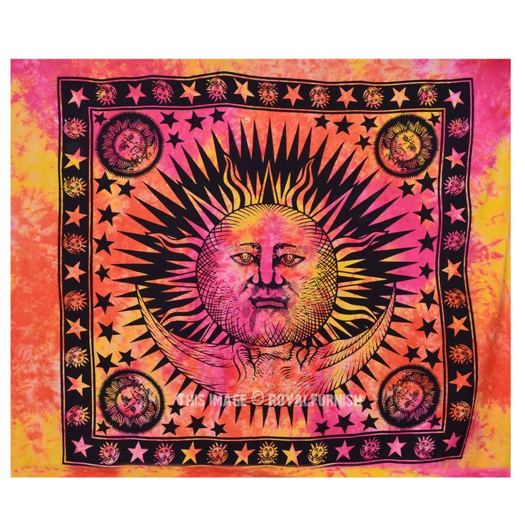 Large Colorful Tie Dye Hippie Sun and Moon Tapestry Wall Hanging Bedding Bedspread on RoyalFurnish.com, $20.42
