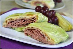 Reuben-esque Cabbage Wraps    PER SERVING (1/4th of recipe, 1 wrap): 160 calories, 6.5g fat, 937mg sodium, 9.5g carbs, 1.5g fiber, 5g sugars, 17g protein -- PointsPlus® value 4*