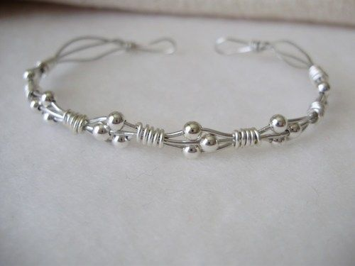Silver Wire Wrapped Bracelet Delicate Thin Dainty Beaded - Daphne Cuff | WestminsterStudios - Jewelry on ArtFire