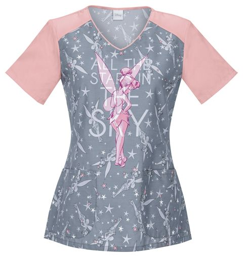 "Cherokee Disney Tooniforms Tinkerbell V-Neck Top in ""Stars In The Sky"" from Cherokee Scrubs at Alegria Cherokee Store"