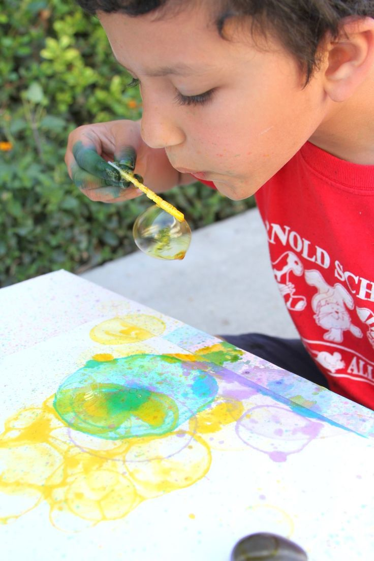 A fun kid craft project with bubbles and paint