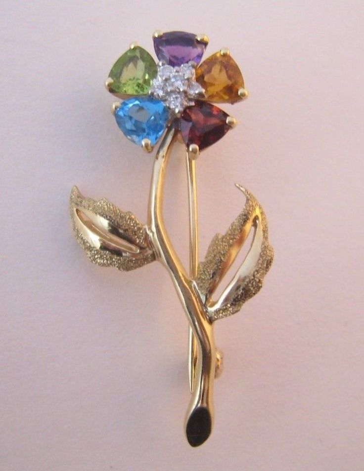 Vintage 14k Yellow Gold with Multi-color Gemstones Diamonds Flower Pin Brooch  | eBay