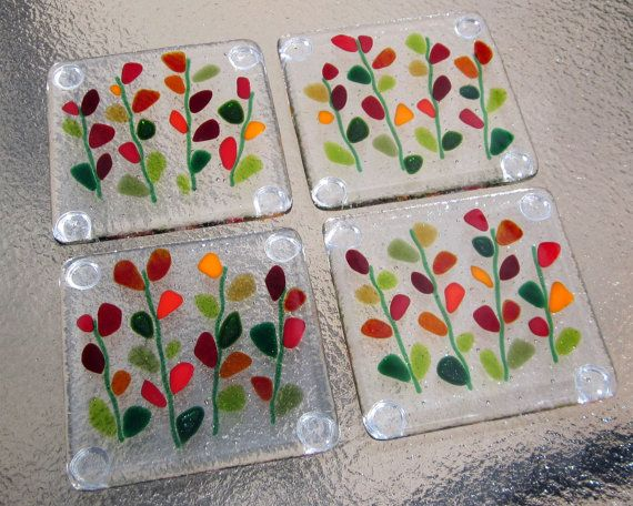 Fused Glass Coasters, Blooming Branches in Red