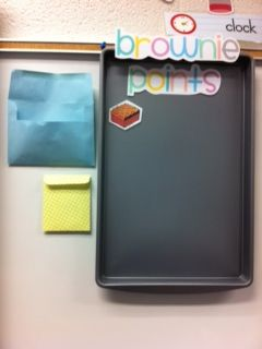 Brownie Points With a Cookie Sheet. You Just Print Out Brownies and Laminate Them and Put a Magnet On The Back. If Your Class Is Good Add A Brownie. When The Tray Is Full They Get A Brownie Party!