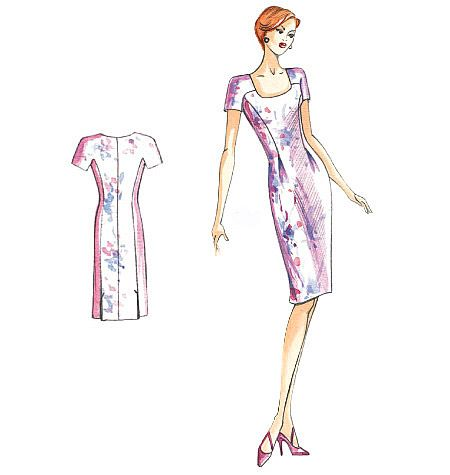 Marfy Dress  This softly pleated straight dress has short sleeves that are one with the yoke. The skirt has a slit at the back. Approximate fabric required: 1.30 meters (1.40 meters wide)