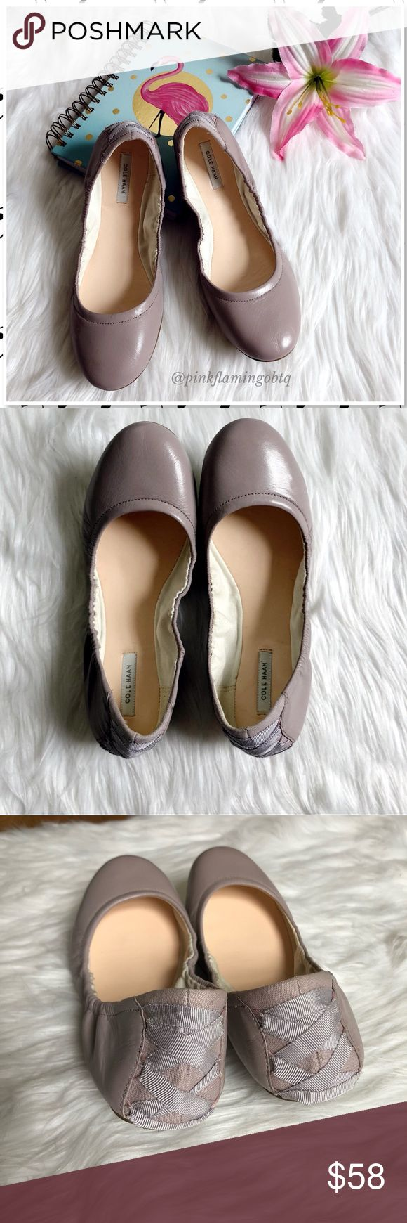 Cole Haan Grand.OS Lavender Scrunch Ballet Flats 7 Cole Haan Grand.OS Lavender Leather Scrunch Ballet Flats. Super comfortable flats from Cole Haan features a cushioned footbed, Leather upper with elasticized sides for a snug perfect foot fit and rubber heel/footbed bottoms for traction. Matching light lavender ribbon lacing up heel. Excellent used condition. Only signs of wear is slight wear to leather on bottom of shoe. Upper is flawless. Photos are best descriptors. Perfect for the Spring…