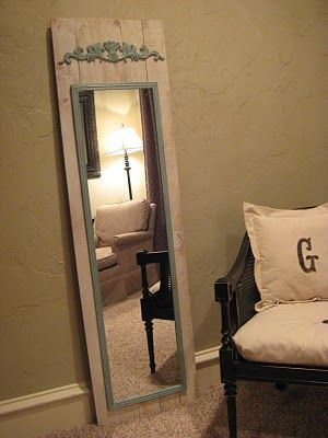 full length mirror using wood from old fence and cheap mirror from walmart.  love it!