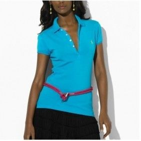 Ralph Lauren Mesh Women Featured Notch Short Sleeved Polo Blue Outlet Online