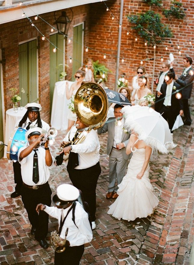 Celebrate your ceremony with a parade like this New Orleans wedding.