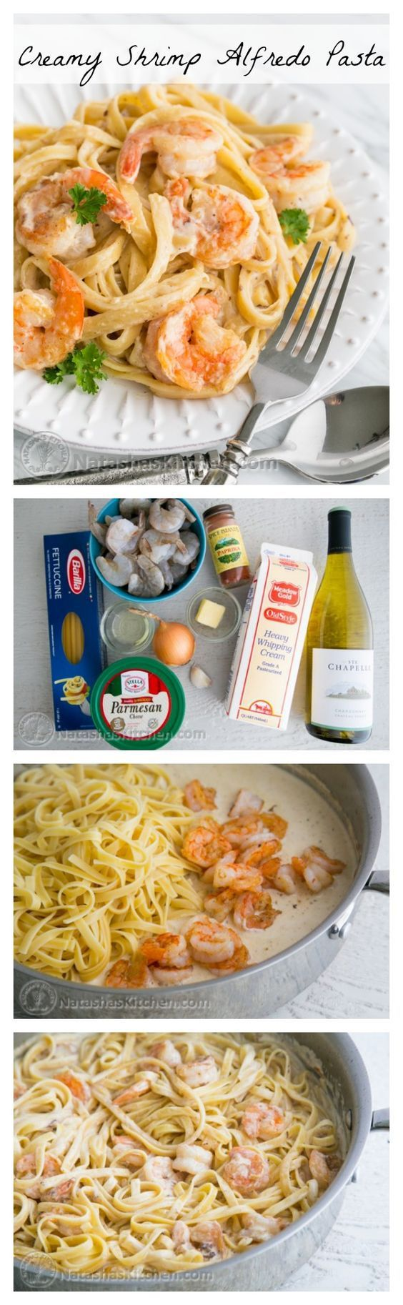 This recipe reminds me of my favorite dish at Olive Garden; seafood alfredo. The creamy pasta studded with large tender shrimp is the ultimate comfort food!