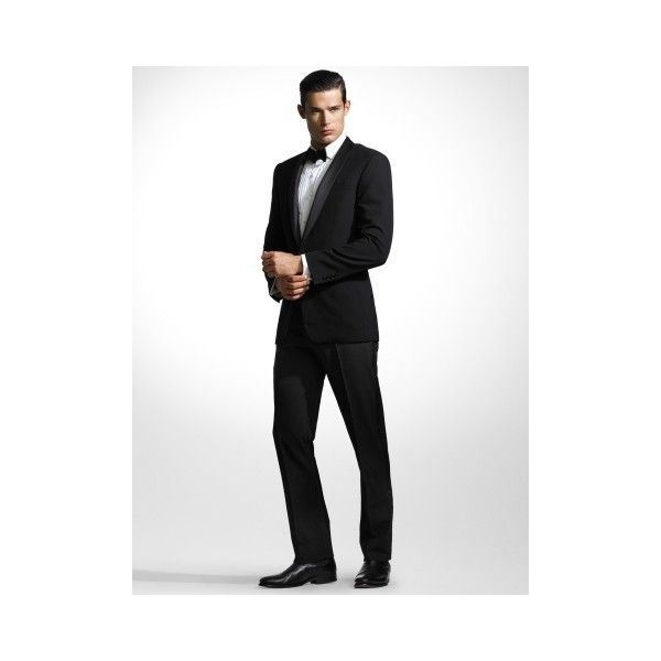 Ralph Lauren Black Label Anthony Shawl-Collar Tuxedo ($2,295) ❤ liked on Polyvore featuring men's fashion, men's clothing, men's suits, mens tailored suits, mens striped suit, mens tuxedo suits, mens two piece suits and polo ralph lauren mens clothing