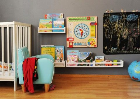 Reading Area  hanging forward facing book shelves   chalkboard  small chair for reading  aqua gray boys baby room