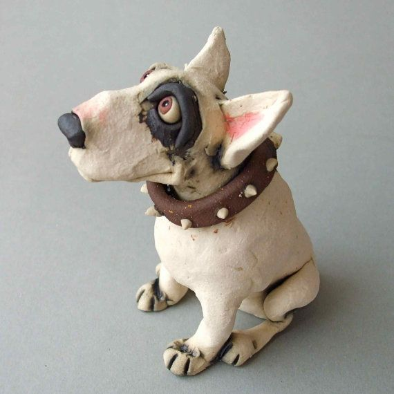 Bull Terrier Dog Ceramic Sculpture