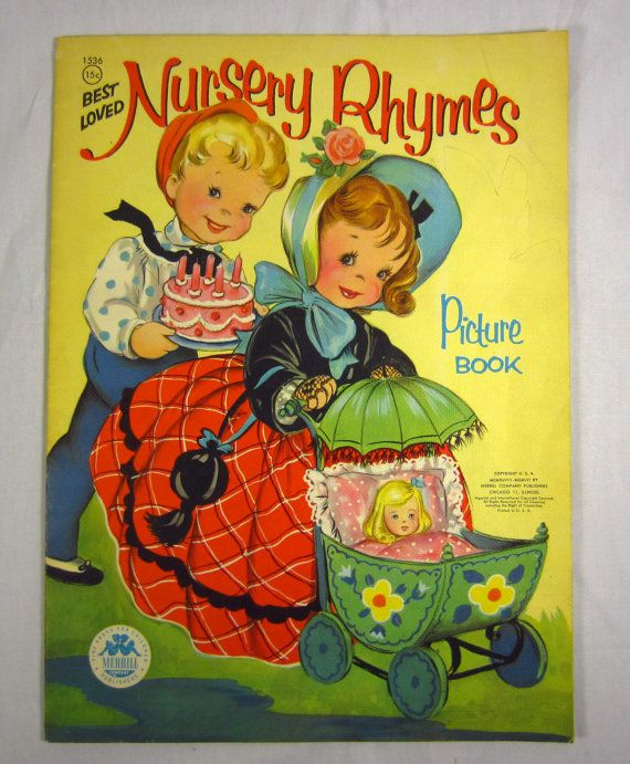 Nursery Rhymes Picture Book 1940s Childrens Classic Large Size Linen Linette Merrill Poems 1948