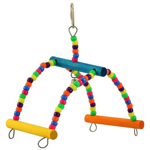 Rock & Roll Swinging Seesaw Parrot Toy  Fun perch for small parrots.  Brightly coloured with lots of bead this fun perch is amuzing place for your small parrot to be.  Designed to allow your bird to enjoy climbing and swinging The Rock & Roll Fun Parrot Perch secures safely to their cage using the quick link provided.  On the top there is a little bell to entertain you and your bird.  For extra fun you can attach extra chewing materials or other bits and bobs from our Toy-Making Parts…