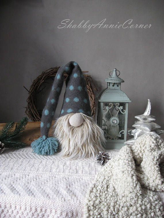 Christmas gnome Gray Blue Rustic Christmas Norwegian gnome