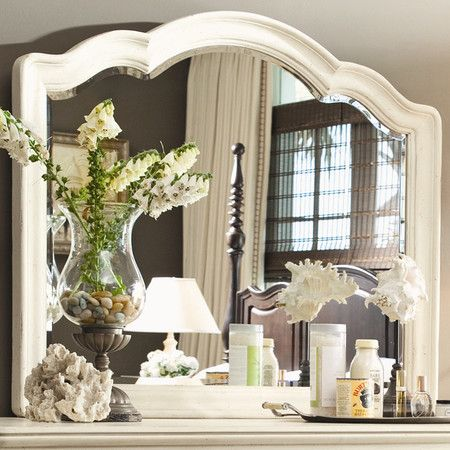 Dresser Mirror With Scalloped Wood Frame Product Dresser