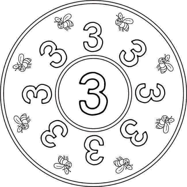 3 Sayi Mandalasi Evimin Altin Topu Boyama Sayfalari Mandala