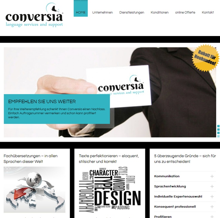 This is the homepage from Conversia