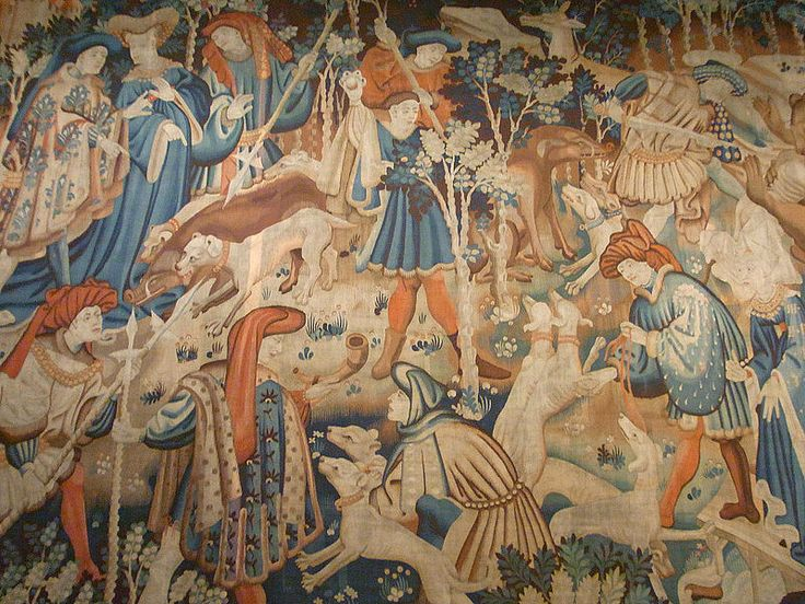 1425-30.Devonshire Hunting tapestries.Victoria and Albert Museum.Tapestry with scenes of a bear and boar hunt;Detail;Southern Netherlands (Belgium); wool, tapestry woven; formerly at Hardwick Hall; accepted by HM Government in lieu of tax payable on the estate of the 10th Duke of Devonshire; Museum no.T.204-1957. Hardwick Hall Tapestry.