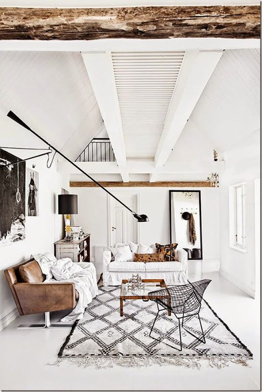 scrolling through Scandinavian Interior you'll notice how oftentimes one contrasting-color is being used. Great living room design in white combined with brown (leather and wood)!