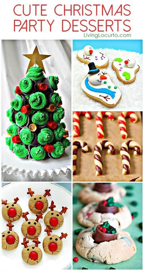 Cute Christmas Party Dessert Ideas. Adorable and easy to make Holiday recipe ideas! Christmas Cookies, Cupcakes and Peppermint treats made into snowmen, Rudolph and Santa that are sure to please your kids and party guests.