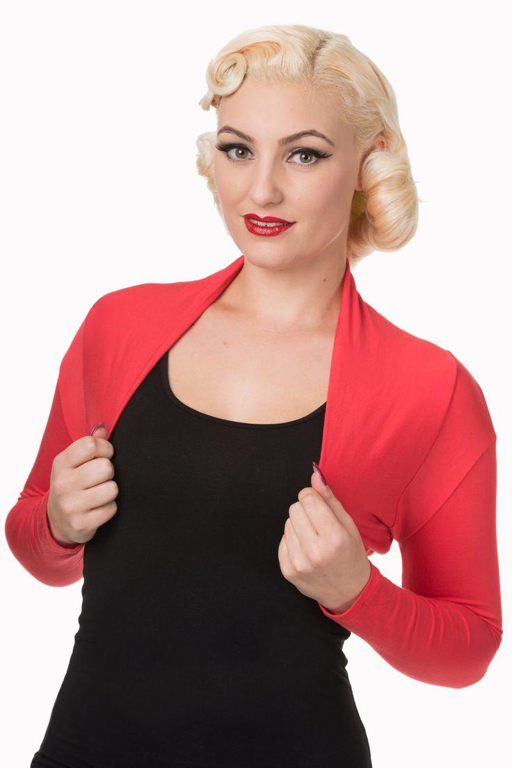 Bolero Banned Red XS Krátké bolerko v červené barvě, které lze využít jako doplněk nejen k šatům, ale také sukním s topem. Pro chladnější rána či večery nebo pro dámy, které si chtějí zakrýt ramena či paže. Příjemný materiál podobný hladkému, slabému úpletu (95% viskóza, 5% elastan) se dobře podá Vašemu tělu.