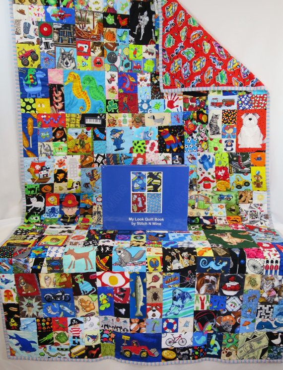 Boys Look Quilt (I spy game) with 8 x 11 Hardcover My Look Quilt Book for interactive play. This handmade Look Quilt (I Spy quilt) is made from hundreds of pieces of 100% cotton novelty quilting fabrics, you will find something new every time you look at it. No two items are repeated in the quilt. The accompanying My Look Quilt Book makes it a great interactive activity and takes the I Spy element to the next level with the quilt. The Look Quilt and My Look Quilt Book together are the…