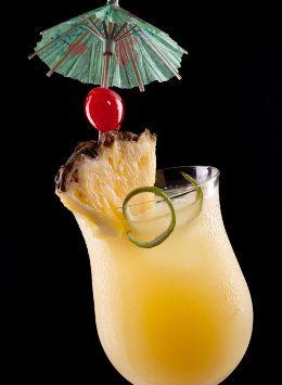 Rum Mixed Drinks - Fire Island Sunrise: White Rum (1 shot), Vodka (1 shot), Orange Juice (1 shot), Sweet and Sour (1 shot), splash of cranberry juice