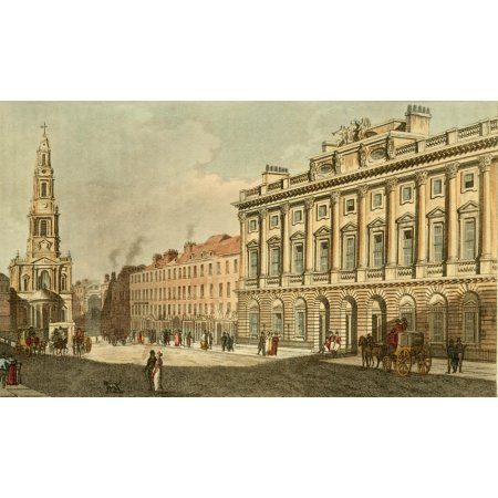 Repository of Arts 1817 Somerset House & New Church Strand Canvas Art - Unknown (18 x 24)