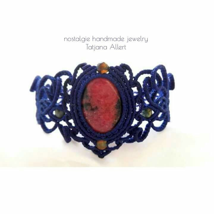 Macrame necklace with ruby soizite stone https://www.facebook.com/Nostalgiehandmade/