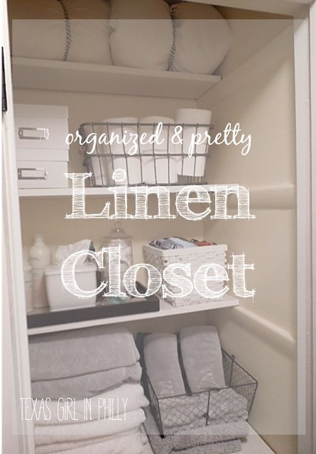 DIY-Organized and Pretty Linen Closet. Given that I actually avoid opening mine...  Maybe I should do something about it.
