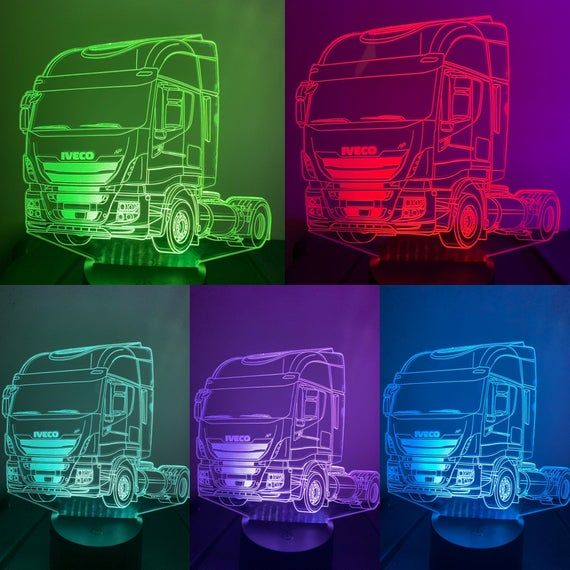 Iveco Stralis Truck 3d Illusion 7 Colors Changing Led Lamp Etsy 3d Illusions 3d Led Light Illusions
