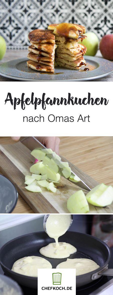 """Schmackhafte Apfelpfannkuchen wie von Oma. """"MrsFlury"""" zeigt euch die einfache Zubereitung im Video."""
