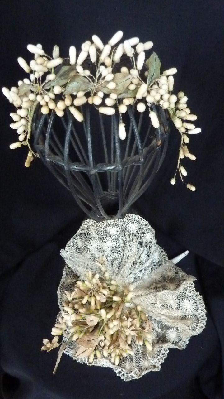 Romantic 19thC. French bride's wedding wax crown and bouquet lace.