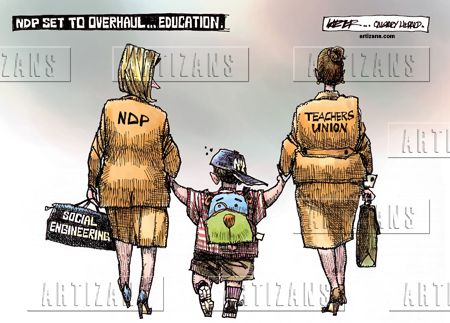 rachel notley cartoon | Rachel Notley and teacher's union overhaul Alberta education - Color