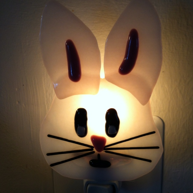 Easter bunny nightlight - fused glass: Fused Glass
