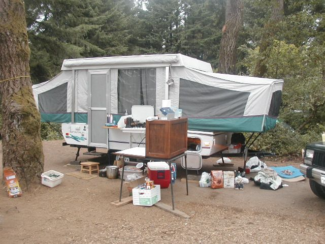 Our 1995 Coleman tent trailer at Harris Beach State Park, Bookings, Oregon in 2003