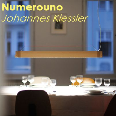 Numerouno is a new pendant lamp made of corrugated cardboard, wire, plastic and nylon thread.