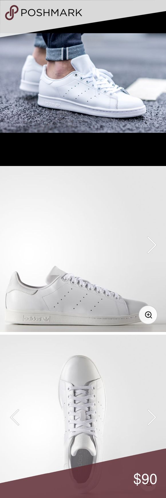Adidas Stan Smith Just like its namesake, the Stan Smith rose to fame on tennis courts in the '70s. Today the legendary look steps out in a smooth leather upper with clean, all-white look. Features the authentic perforated 3-Stripes and rubber cupsole. Full grain leather upper Synthetic leather lining Perforated 3-Stripes Rubber cupsole adidas Shoes Sneakers