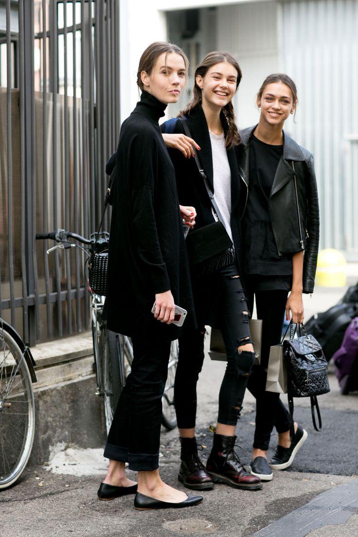 Taya Ermoshkina, Irina Shnitman & Zhenya Katava outside Giorgio Armani show, Milan Fashion Week Spring 2016.