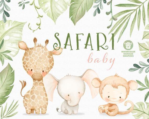 Jungle Safari Baby Animals Watercolor Clipart Illustrations Etsy Safari Baby Animals Jungle Safari Baby Shower Jungle Safari Baby