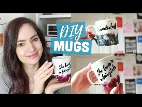 DIY customised mugs - watercolour & quote | CharliMarieTV - YouTube