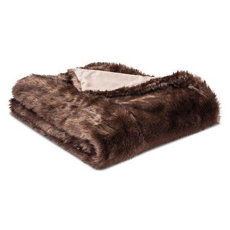 "Brown Throw Blanket Faux Fur (50""x60"") Threshold™ : Target"
